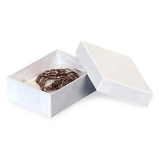 """Pack of 100, Solid 3 x 2.25 x 1"""" White Swirl Jewelry Boxes"""