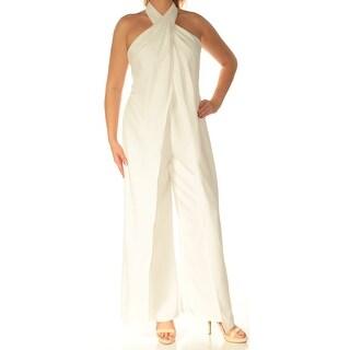 BETSY & ADAM $249 Womens New 1002 Ivory Halter Wide Leg Jumpsuit 12 Petites B+B