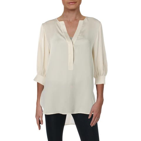 Theory Womens Petites Pullover Top Silk 3/4 Sleeves - P