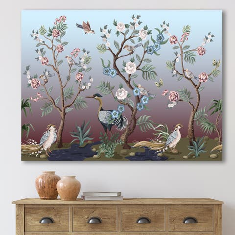 Designart 'Chinoiserie With Birds and Peonies XI' Traditional Canvas Wall Art Print