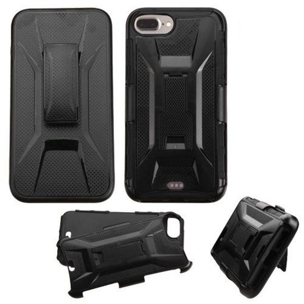 Insten Black Hard PC/ Silicone Hybrid Dual Layer Case Cover with Holster For Apple iPhone 7 Plus