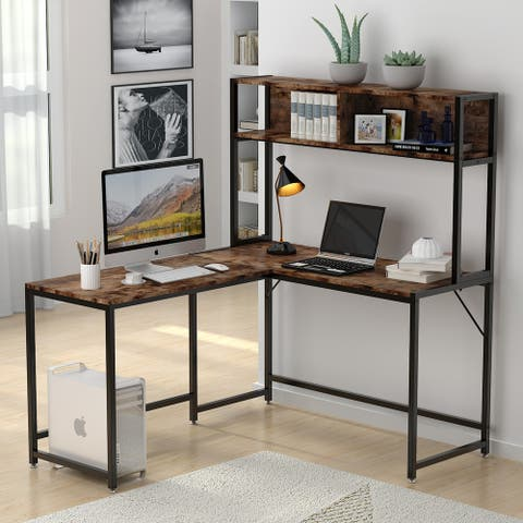 55-Inch Computer Desk with Hutch & Shelves, Industrial