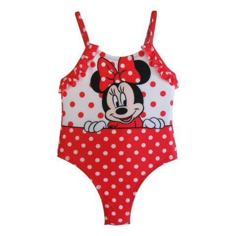 Disney Baby Girls White Red Polka Dots Minnie Ruffles One Piece Swimsuit