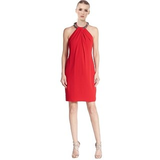 Carmen Marc ValvoCrepe Jeweled Halter Column Cocktail Evening Dress - 8
