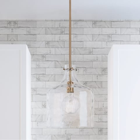 1-Light Clear Water Glass Shade Pendant