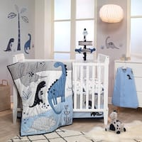 Lambs & Ivy Baby Dino Blue/White Dinosaur Nursery 6-Piece Crib Bedding Set