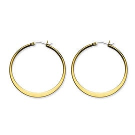 Stainless Steel Gold-plated Tapered 43mm Hoop Earrings