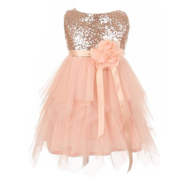 30e7b48bc0 Shop Little Girls Peach Sequined Bodice Poly Mesh Double Layered ...