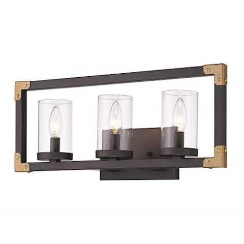 3 light wall mounted light fixture with clear glass shade and rubbed bronze finish