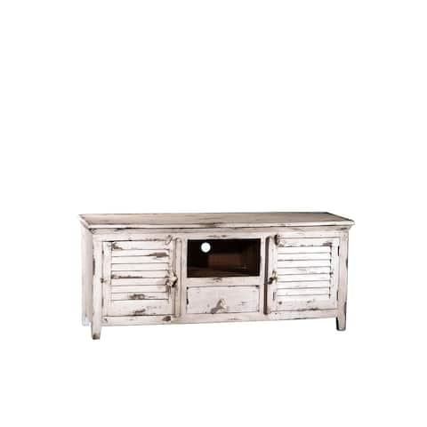Shutter Wood 2 Cabinet, 1 Drawer, Open Shelf TV Console - 60