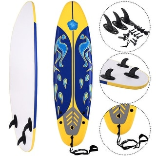 Costway 6' Surfboard Surf Foamie Boards Surfing Beach Ocean Body Boarding Yellow
