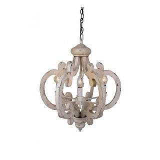 6-Light Candle-Style Wooden Chandelier