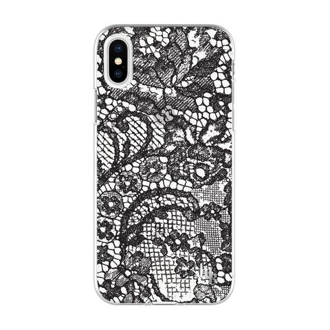 Kendall + Kylie Protective Printed Case for iPhone X Lace Print Black