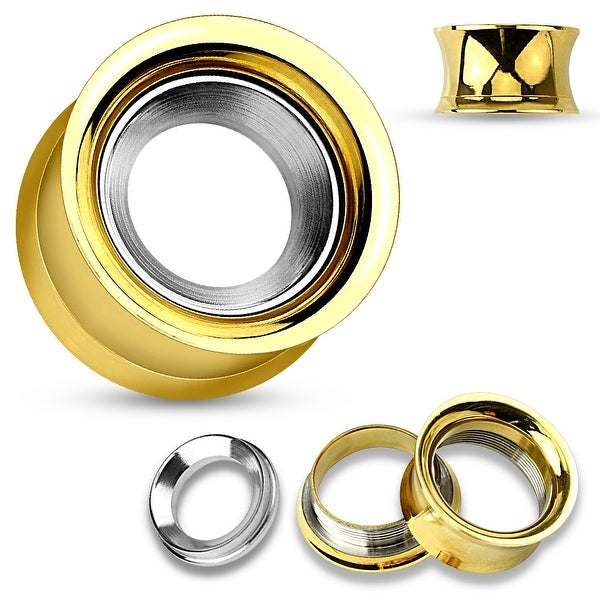 Mirror Polished Removable Steel Disc Gold IP Over Steel Double Flared Screw Fit Tunnel(Sold Ind.)