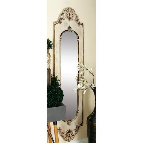 The Curated Nomad Jiminez White MDF Vintage Wall Mirror 72 x 16 x 2 - Brown/Ivory
