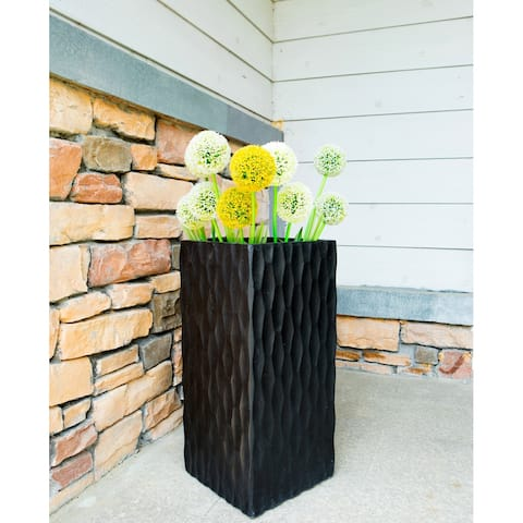 DurX-litecrete Lightweight Concrete Modern Rough Surface Rectangle Black Planter-Large