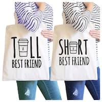 Tall Short Cup BFF Matching Canvas Bags Natural For Birthday Gifts