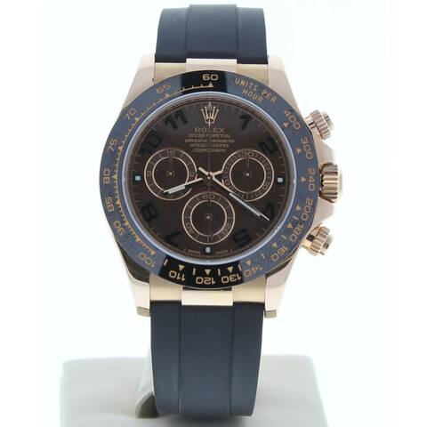 Preowned 116515 Rolex Daytona Chocolate Arabic Dial Gold Rubber Strap - Chocolate Arabic Dial