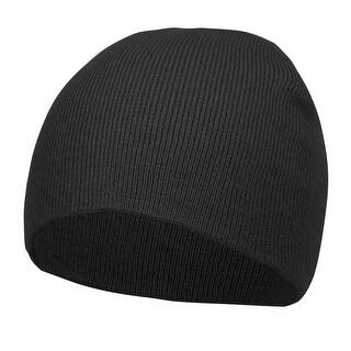 Top Headwear Solid Winter Short Beanies, Black