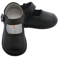 Angel Baby Black Punched Flower Mary Jane Shoes Toddler Girls 5-7