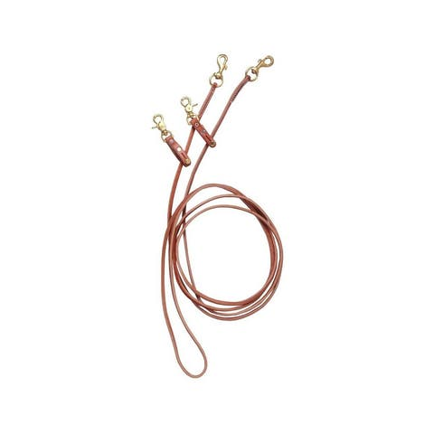 Tough 1 Reins Royal King Harness Leather Pulley Draw Brown - One Size