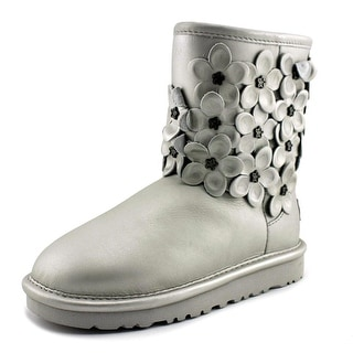 Ugg Australia Classic Short Floral Youth Round Toe Leather Winter Boot