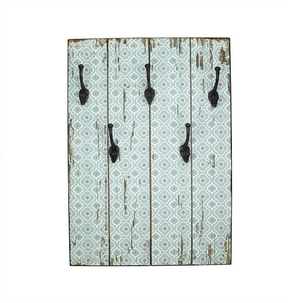 "27.5"" New Romance Distressed Finish Blue and White Decorative Wall Mounted Coat Rack with Hooks"