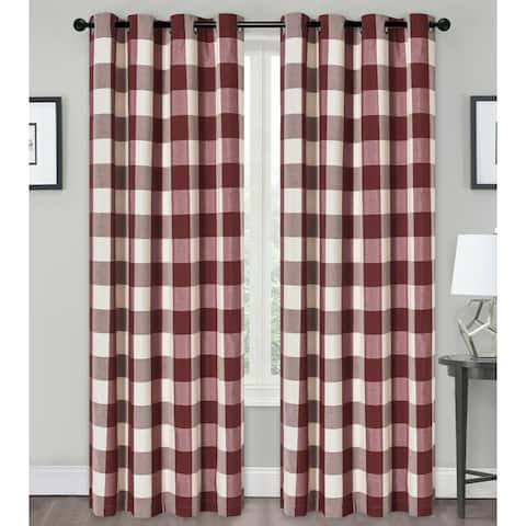 Kate Aurora Country Farmhouse Living Classic Buffalo Plaid Checkered Grommet Top Curtains - 52 in. W x 84 in.
