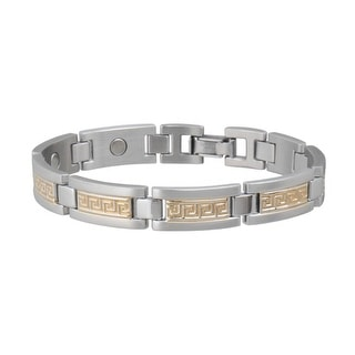 Sabona Jewelry Mens Bracelet Greek Key Duet Magnetic Silver Gold 374