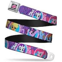 My Little Pony Logo Full Color Black Pink Posing Ponies W Mirrors Purple Seatbelt Belt