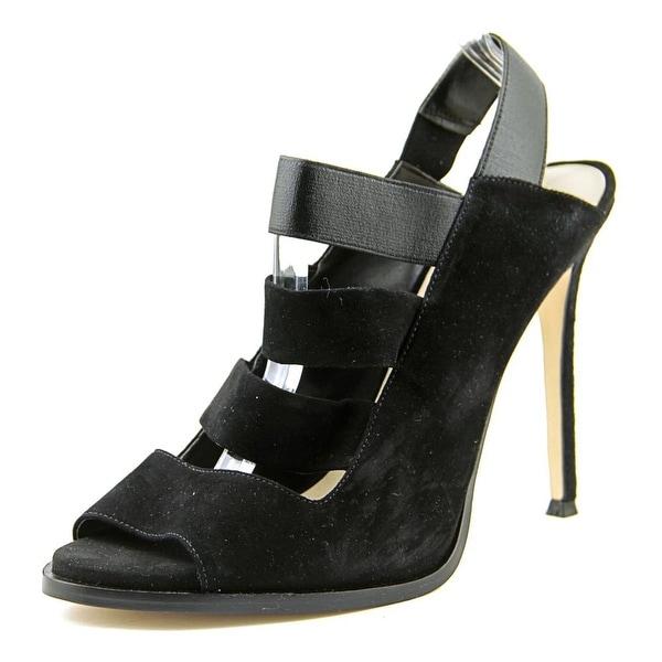 Nine West Hallan Women Open Toe Suede Black Sandals