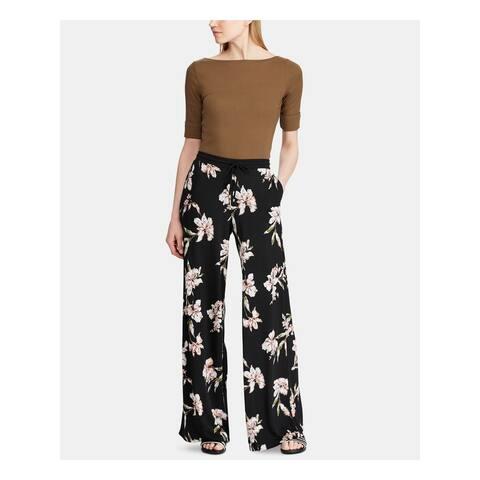 RALPH LAUREN Womens Black Floral Wide Leg Pants Size XS