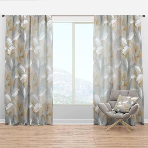Designart 'Luxury geometric fall leaves pattern' Mid-CenturyCurtain Panel