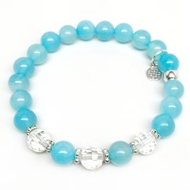 Turquoise Quartz 'Naomi' Stretch Bracelet, Crystal & Sterling Silver