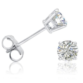Amanda Rose 14k White Gold 1/2ct TDW Round Diamond Stud Earrings