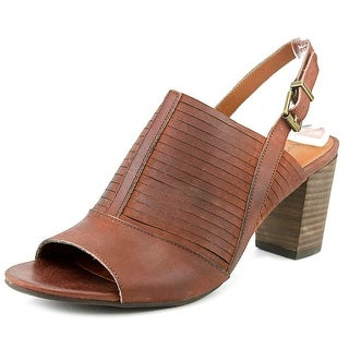 Lucky Brand Jorelie Women Open-Toe Leather Brown Slingback Sandal