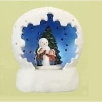 "4"" Vibrantly Colored Battery Operated LED Lighted Snowman & Child Scene Table Top Christmas Dome - WHITE"