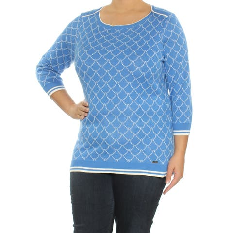 TOMMY HILFIGER Womens Blue Printed 3/4 Sleeve Jewel Neck Sweater Size: XL