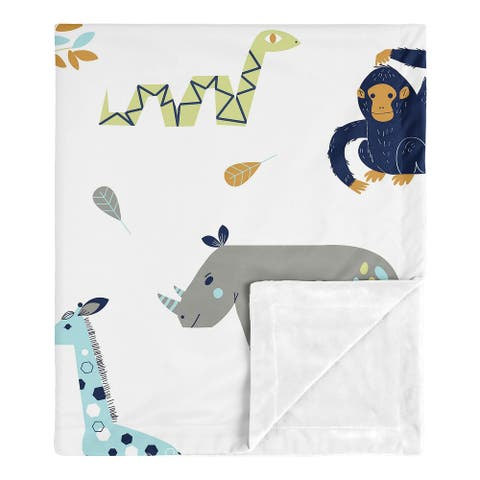 Safari Animals Collection Boy Baby Receiving Security Swaddle Blanket - Turquoise and Navy Blue Mod Jungle Lion Monkey Giraffe