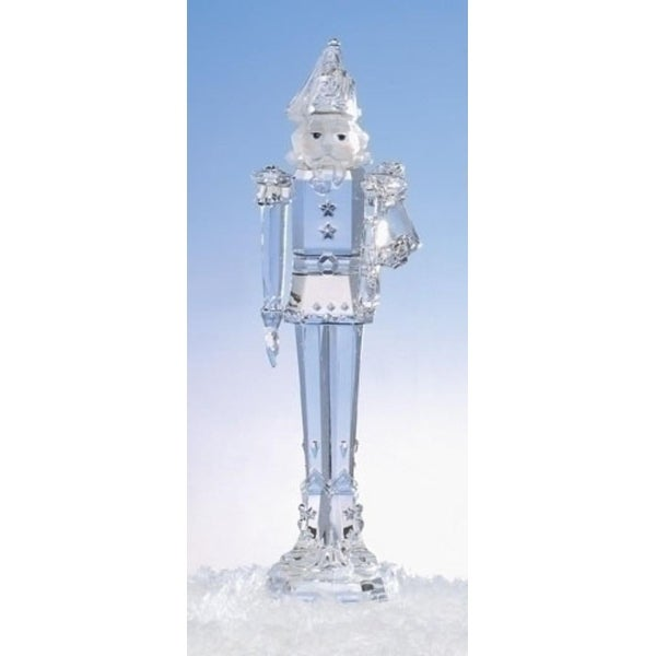 """11.75"""" Icy Crystal Nutcracker Holding Trumpet Christmas Figure Decoration - CLEAR"""
