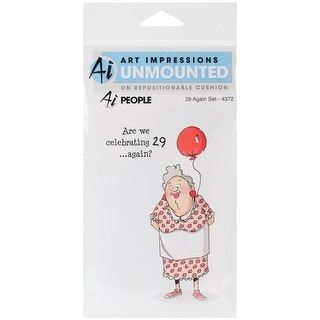 """Art Impressions People Cling Rubber Stamps 7""""X4""""-29 Again"""