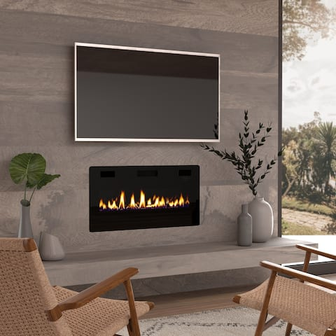 "36"" Ultra Thin Electric Fireplace Insert, Wall Mounted/In Wall Easy Installation with remote control, 750W/1500W"