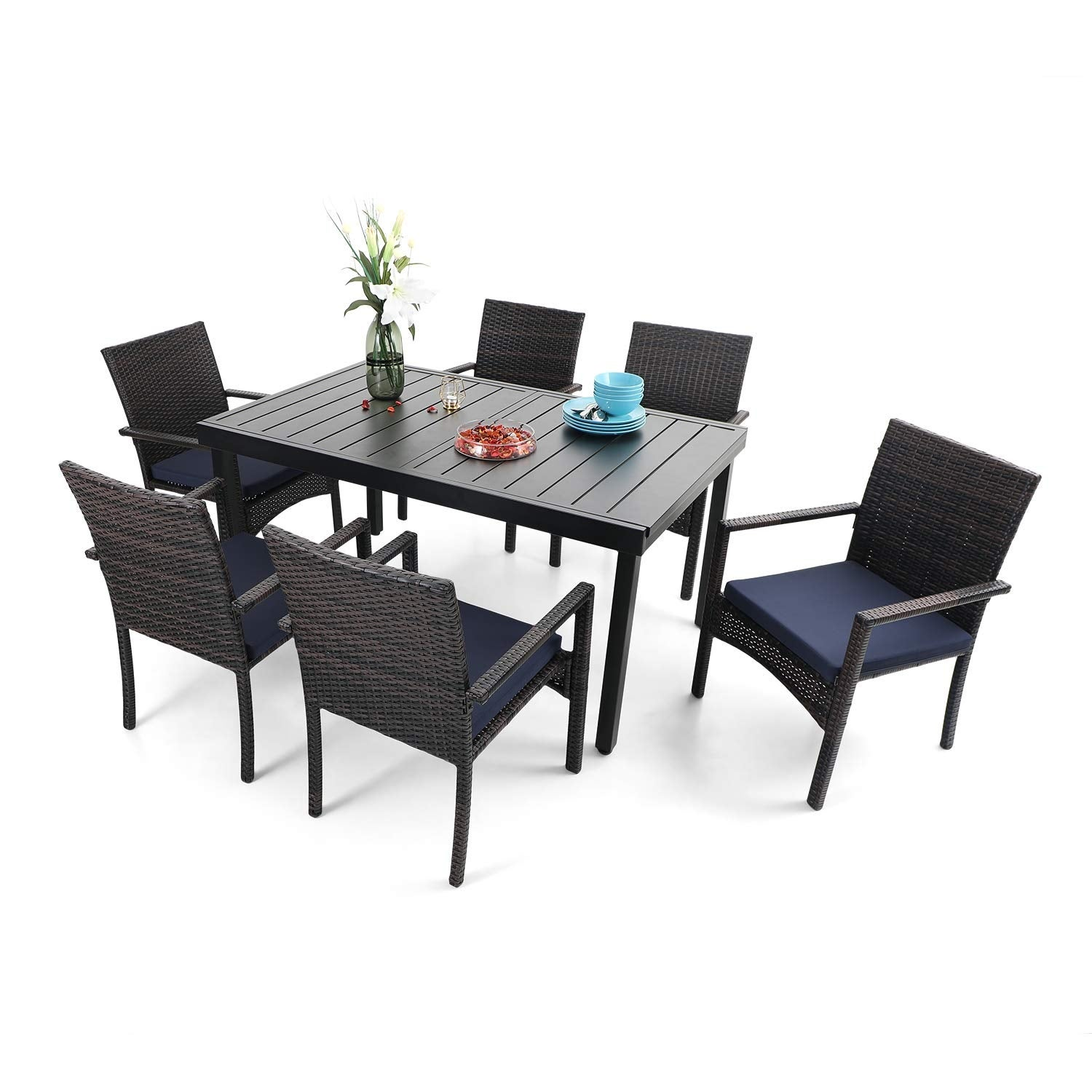 Phi Villa Seats Of 6 8 Outdoor Dining Table Sets Expandable Rectangular Metal Dining Table And 6 Rattan Chairs Overstock 32355295