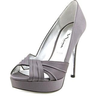 Nina Milan Women Open-Toe Canvas Gray Heels