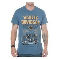 Harley-Davidson Men's 115th Anniversary Model One Short Sleeve T-Shirt, Blue