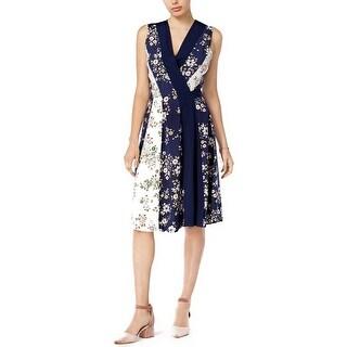Maison Jules Printed Surplice Wrap Dress Blue Notte Combo
