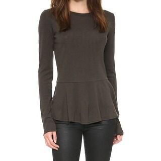 Theory NEW Malydie Brown Womens Size Medium M Wool Peplum Knit Top