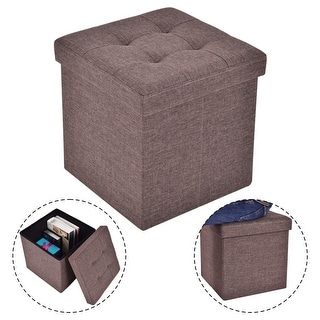 Costway Folding Storage Cube Ottoman Seat Stool Box Footrest Furniture  Decor Brown