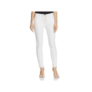 Blank NYC Womens Skinny Jeans Lace-Up Mid-Rise