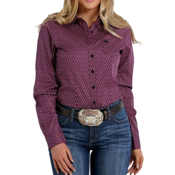 c91e1409737 Shop Cinch Western Shirt Womens Long Sleeve Print Weave Purple - Free  Shipping On Orders Over  45 - Overstock - 19459623